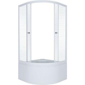 Душевой уголок Triton Стандарт Б 90х90 профиль белый, стекла Аква полосы (Щ0000025438)
