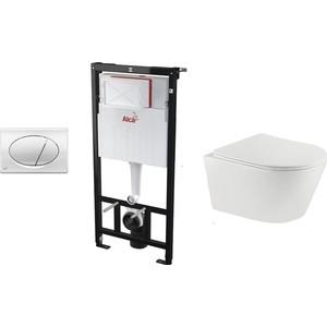 Комплект Teka Rimless с сиденьем микролифт + исталляция + кнопка, белый (Set3v1+117320001)