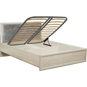 Фото - Кровать с подъемным механизмом Олимп 32.26-01 сохо 140 бетон пайн белый / профиль бетон пайн белый патина / белый / ДВПО белый / ткань велюр серый бетон