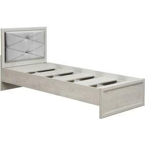Фото - Кровать одинарная с настилом Олимп 32.23 сохо 90 бетон пайн белый / профиль бетон пайн белый патина / ткань велюр серый бетон