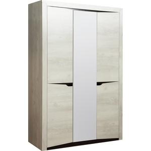 цена Шкаф для одежды 3-х дверный Олимп 33.02 Лючия бетон пайн белый / венге / белый / ДВПО белый / зеркало онлайн в 2017 году