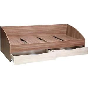 Кровать одинарная Олимп Фея-3 ясень шимо темный / ясень шимо светлый / ДВПО белый шкаф комбинированный олимп виола 4 ясень шимо темный ясень шимо светлый зеркало