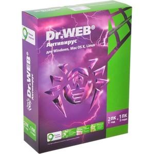 Программное обеспечение Dr.Web Pro картонная упаковка на 12 месяцев 2 ПК (BHW-A-12M-2A3)