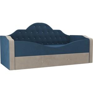 Детская кровать АртМебель Скаут велюр голубой бежевый