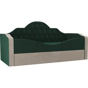 Детская кровать АртМебель Скаут велюр зеленый бежевый