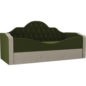 Детская кровать АртМебель Скаут микровельвет зеленый бежевый