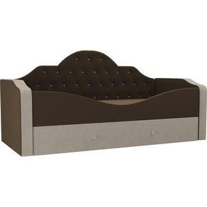 Детская кровать АртМебель Скаут микровельвет коричневый бежевый