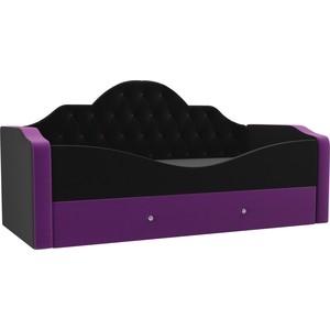 Детская кровать АртМебель Скаут микровельвет черный фиолетовый