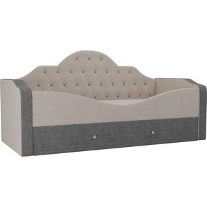 Детская кровать АртМебель Скаут рогожка бежевый серый