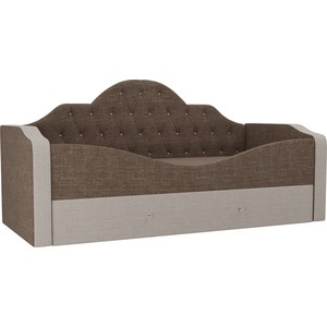 Детская кровать АртМебель Скаут рогожка коричневый бежевый