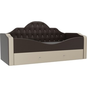 Детская кровать АртМебель Скаут эко кожа коричневый бежевый