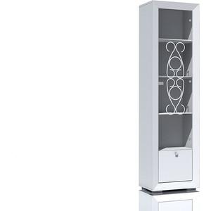 Шкаф для посуды Сильва НМ 014.96 Адель белый скандинавский/белый глянец фото