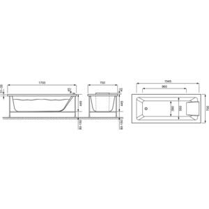 Акриловая ванна Jacob Delafon Sofa 170x70 с каркасом белая (E60518RU-00, E6D082RU-00)