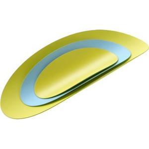 Набор из 3х стальных блюд Alessi Ellipse (бирюзовый & желтый)
