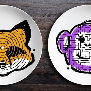 Набор тарелок BadLab ЗооЛаб, Лис/Обезьяна