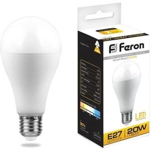Лампа светодиодная Feron LB-98 25787 E27 20W 2700K Шар Матовая лампа светодиодная feron lb 100 25791 e27 25w 4000k шар матовая