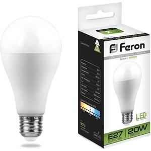 Лампа светодиодная Feron LB-98 25788 E27 20W 4000K Шар Матовая лампа светодиодная feron lb 100 25791 e27 25w 4000k шар матовая