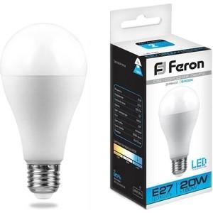 Лампа светодиодная Feron LB-98 25789 E27 20W 6400K Шар Матовая лампа светодиодная feron lb 100 25791 e27 25w 4000k шар матовая