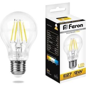 Лампа светодиодная филаментная Feron LB-63 25631 E27 9W 2700K Шар Прозрачная