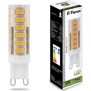 Лампа светодиодная Feron LB-433 25767 G9 7W 4000K Прямосторонняя Матовая лампа светодиодная капсульная feron lb 432 g9 5w 4000k