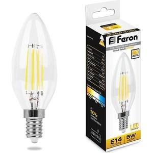 Лампа светодиодная филаментная диммируемая Feron LB-68 25651 E14 5W 2700K Свеча Прозрачная