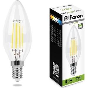 Лампа светодиодная филаментная диммируемая Feron LB-166 25871 Е14 7W 4000K Свеча на ветру Прозрачная