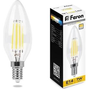 Лампа светодиодная диммируемая филаментная Feron LB-166 25870 E14 7W 2700K прозрачная