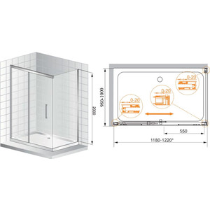 Душевой уголок Cezares Premier Soft 120x100 хром, прозрачный (PREMIER-SOFT-W-AH-1-120/100-C-Cr-IV)