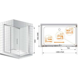 Душевой уголок Cezares Premier Soft 150x100 хром, прозрачный (PREMIER-SOFT-W-AH-1-150/100-C-Cr-IV)