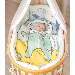 Комплект в кроватку AmaroBaby 18 предметов Exclusive Creative Collection TO THE MOON AND BACK
