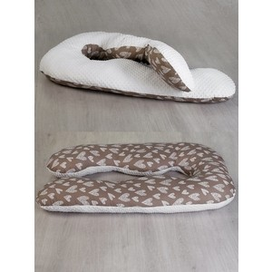 Подушка для беременных AmaroBaby Анатомическа 340х72 (Вязаные сердечки кофе)