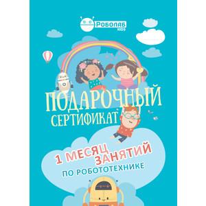 Подарочный сертификат Роболаб Kids 1 месяц занятий по роботехнике для дошкольников (голубой)