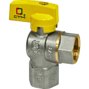 Кран шаровый СТМ для газа угловой 3/4 гайка/гайка, бабочка (CGLFFB34)
