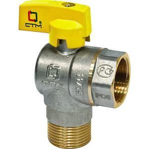 Кран шаровый СТМ для газа угловой 3/4 гайка/штуцер, бабочка (CGLFMB34)
