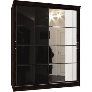 Шкаф-купе Атлант Оскар-11-3 ясень шимо светлый Черное/зеркало шкаф купе атлант оскар 11 3 ясень анкор светлый черное зеркало