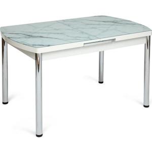Стол TetChair Marmaris (mod.18) металл/мдф/стекло бело-коричневый узор