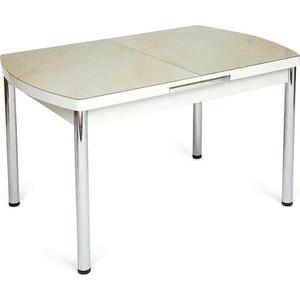 Стол TetChair Marmaris (mod.18) металл/мдф/стекло кремовый мрамор