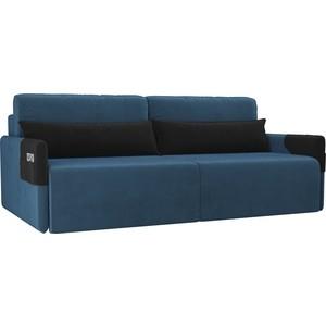 Прямой диван Лига Диванов Армада велюр голубой черный прямой диван лига диванов армада велюр коричневый черный