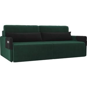 Прямой диван Лига Диванов Армада велюр зеленый черный прямой диван лига диванов кэдмон велюр зеленый