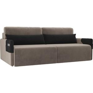 Прямой диван Лига Диванов Армада велюр коричневый черный прямой диван лига диванов армада велюр коричневый черный