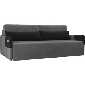 Прямой диван Лига Диванов Армада велюр серый черный прямой диван лига диванов армада велюр коричневый черный
