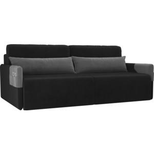Прямой диван Лига Диванов Армада велюр черный серый прямой диван лига диванов армада велюр коричневый черный