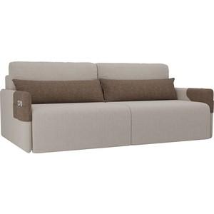 Прямой диван Лига Диванов Армада рогожка бежевый коричневый прямой диван лига диванов армада велюр коричневый черный