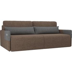 Прямой диван Лига Диванов Армада рогожка коричневый серый прямой диван лига диванов армада велюр коричневый черный