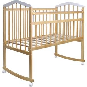Кроватка Malika MELISA-2 LUX колесо-качалка, без ящ., силик. накладки, натуральный лак-белый