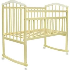 Кроватка Malika MELISA-2 LUX колесо-качалка, без ящ., силик. накладки, слоновая кость-белый