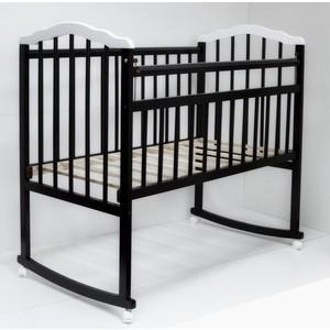 Кроватка Malika MELISA-2 LUX колесо-качалка, без ящ., силик. накладки, шоколад-белый