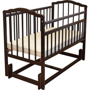 Кроватка Malika MELISA-3 продольного качания, защитные силик. накладки, б/ ящика,шоколад