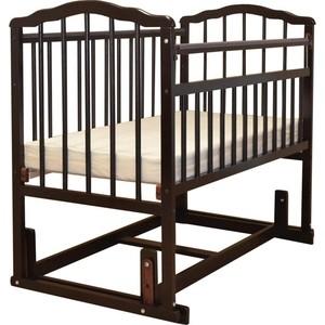 Кроватка Malika MELISA-4 поперечного качания, защитные силик. накладки, б/ ящика, шоколад