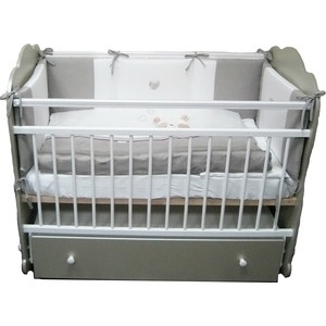 Кроватка Островок уюта Слоненок (серебро-белый) маятник поперечный с ящиком ОУ208С/Б фото